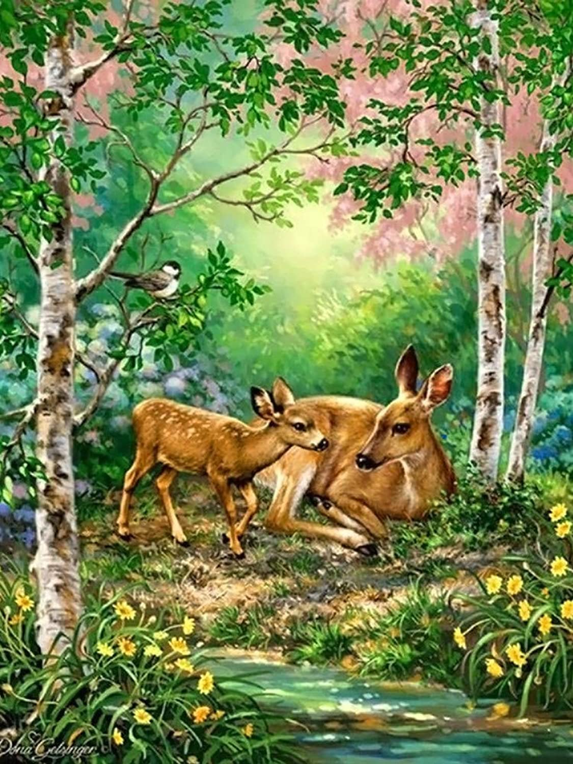 Xhabb 5D DIY Diamond Painting Living Room Decoration Painting Forest Deer 5D Full Diamond Cross Stitch 30X40Cm