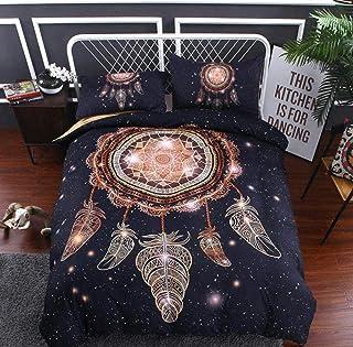 XYSQWZ 2019dreamcatcher Bedding 3 Piezas 3D Dream Catcher Juego De Funda Nórdica Boho Native American Indian Ethtic Hippie Style Colcha Coverlet 3 Full200x229cm-full200x229cm_4