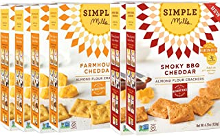 Simple Mills Almond Flour Cracker Variety Pack:, (4) Farmhouse Cheddar, (2) Smoky BBQ Cheddar, 4.25 Ounce (Pack of 6) (PACKAGING MAY VARY)