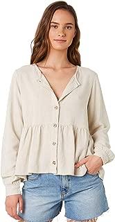 Rhythm Women's Hellenika Top Long Sleeve Linen Rayon Brown