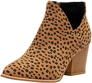 👍ONLT TOP👍 Ankle Boots for Women Chunky Heels Booties Low Heel Shoes Casual Leopard Dress Boots