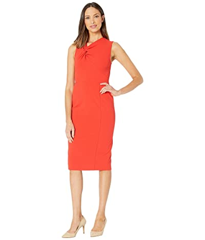 Donna Morgan Sleeveless Crepe Sheath Dress (Scarlet Red) Women