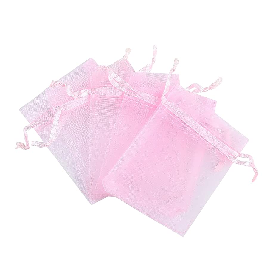 Anleolife 50pcs Pink 3x4 Organza Candy Bags Baby Shower Wedding Sheer Organza Favor Bags Jewelry Organza Drawstring Pouches Gift Bags 11x9cm(pink)