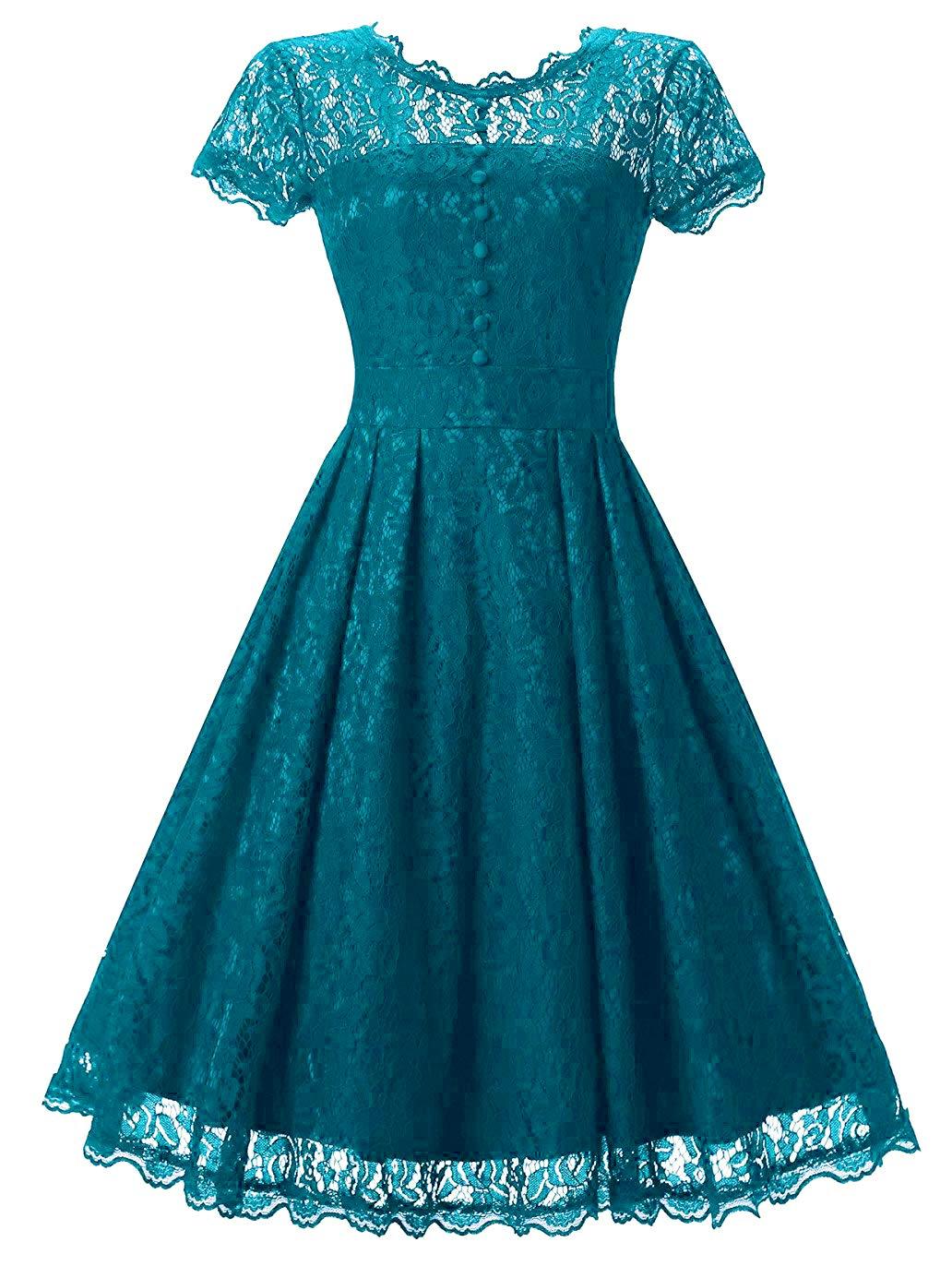 Available at Amazon: Tecrio Women Elegant Vintage Floral Lace Capshoulder Cocktail Party Swing Dress