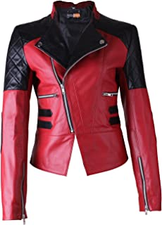 FE- Damask Stylish Women Biker Leather Jacket in Red & Black Quilts - Real Motorcycle Ladies Fashion Coat