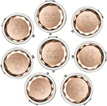 Pack of 8 Compact Pocket Makeup Mirrors - 1 Bride to Be Makeup Mirror 7 Bride Tribe Makeup Mirrors and 8 Gift Bags for Bachelorette Party Bridal Shower Hen Party Bridesmaid Proposal Gifts (Champagne)