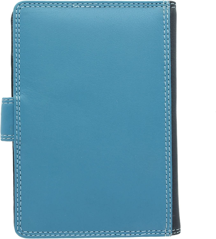 Visconti Rainbow Collection SUMBA Porte-Passeport en Cuir RFID Blocage RB75 Bleu Multi