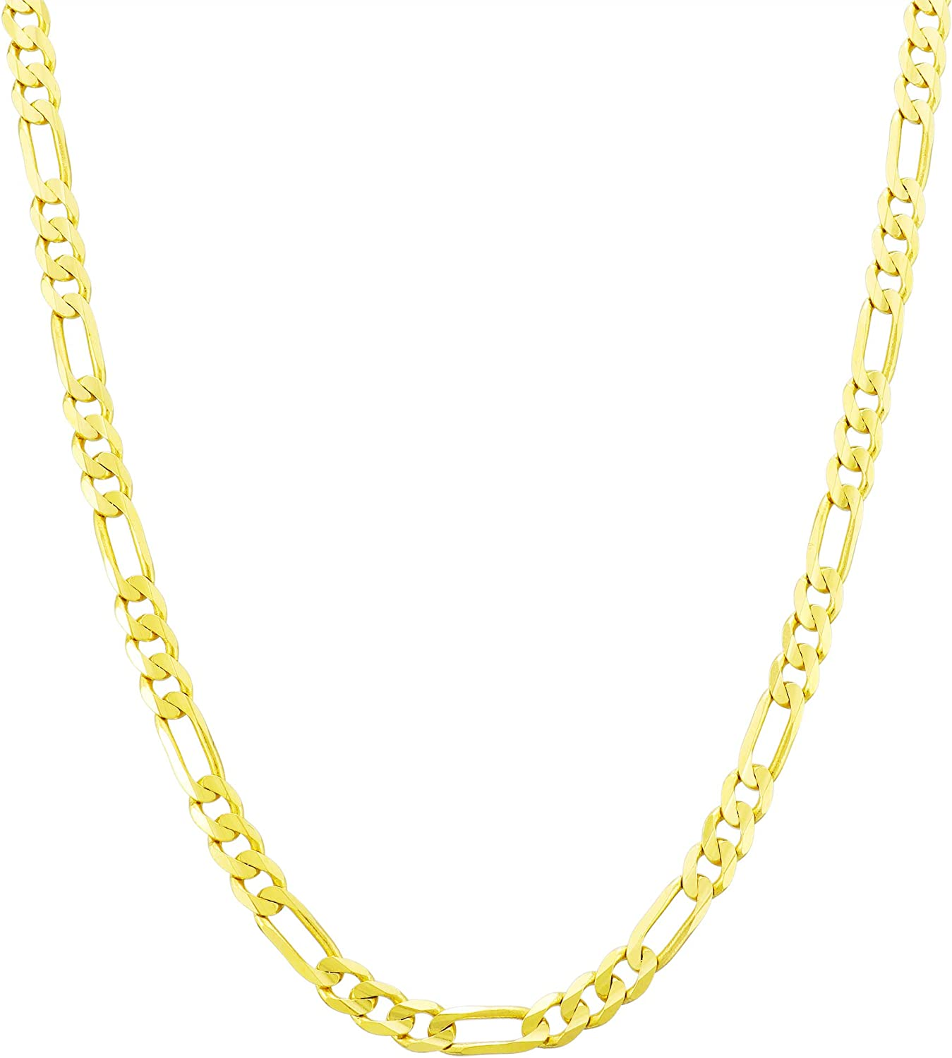 Nuragold 10k Yellow Gold 4mm Figaro Chain Link Pendant Necklace, Mens Womens Lobster Lock 16