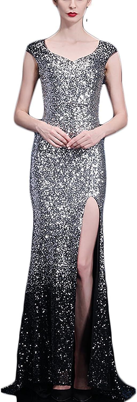 YSMei Women's Gradient Sequin Evening Prom Dresses Long Mermaid Formal Gown P619