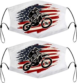 Dirt Bike Motocross American Flag 4th of July Patriotic Kids Face Mask Set of 2 with 4 Filters Washable Reusable Adjustabl...