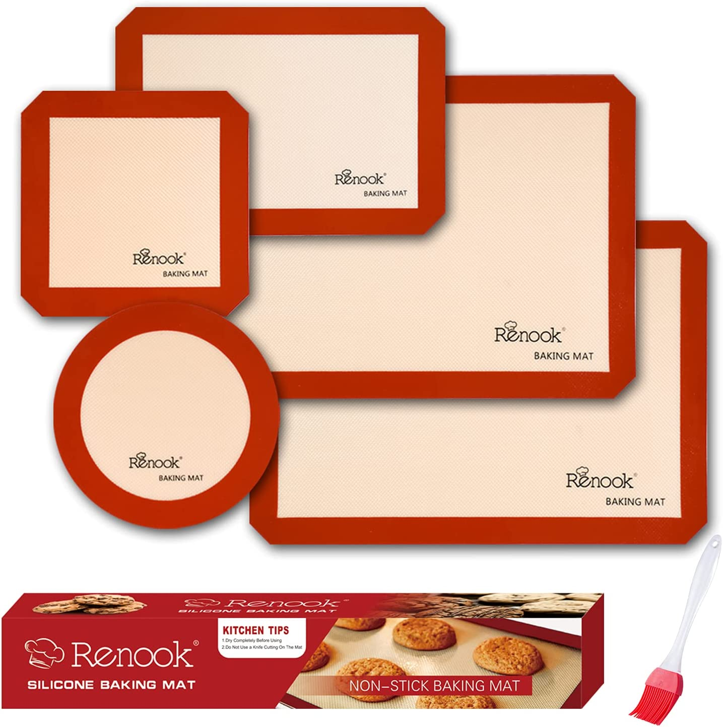 Renook Silicone Baking Mats Set of Food 6 BPA-Free 1 year Recommended warranty Grade