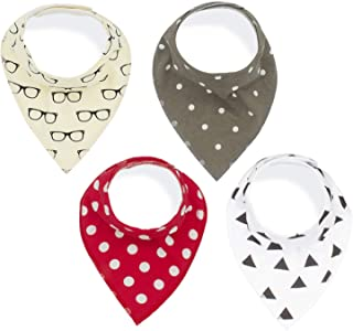 Baby Bandana Drool Bibs,100% Organic Cotton,Cute Baby Gift Set for Drooling and Teething,Hypoallergenic,Absorbent and Soft,4-Pack Unisex