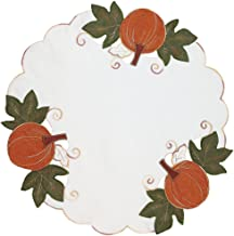 Xia Home Fashions Pumpkin Patch Embroidered Cutwork Linens Collection Fall Doilies, 16-Inch Round, Set of 4
