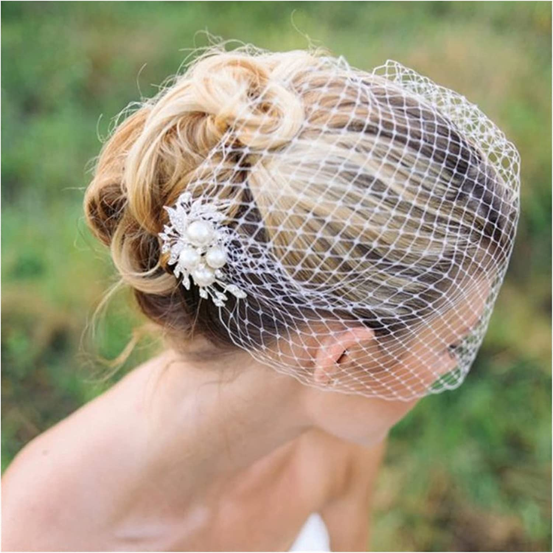 HAQTXI Bridal Birdcage Veil, Wedding Veil, Bridal Hair Comb, Pearls Comb Veil, Pearl Veil Bridal Wedding Veil (Color : Ivory)