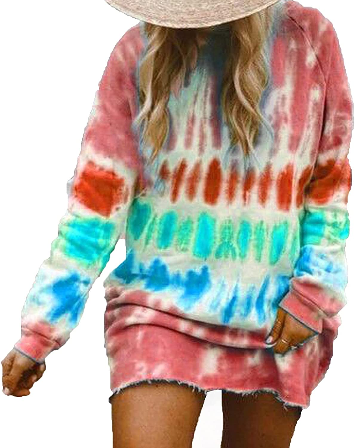 Women Hooded Tops O-Neck Oversized Tie Dye Color Block Printed Loose Long Sleeve Tunic Sweatshirt Pullover Shirts
