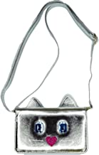 Luv Betsey Johnson Cat Kitty Silver Wallet on a String Cross Body Bag, Small