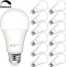Dimmable A19 LED Light Bulbs, 100 Watt Equivalent LED Bulbs, 1200 Lumens, 5000K Daylight White, E26 Medium Screw Base, No Flicker, CRI 80+, 25000+ Hours Lifespan, Pack of 12