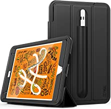 SEYMAC iPad Mini 5/4 Case, Three Layer Heavy Duty Rugged Protection Smart Cover with Leather Stand Pencil Holder Magnetic Smart Auto Sleep Wake Feature Case for iPad Mini 5/4 Generation (Black)