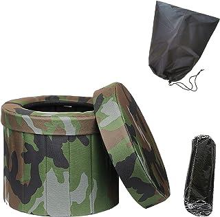 SLDHFE Toilette portable pour camping en plein air, chaise percée, toilette pliable, tabouret de voyage, toilette pour cam...