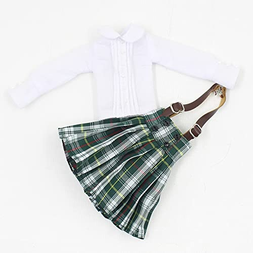 Handmade Casual Outfits Suspender Dress Plaid Skirt For 12inch Blythe Dolls