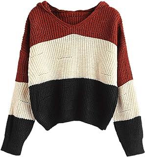 Show-Show-Fashion-Sweater Suéter de Mujer con Capucha, Color de Bloque, Hombros caídos, pulloveres, Ropa de Mujer,