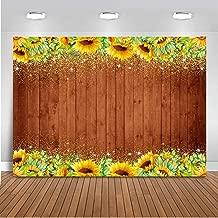 Mocsicka Glitter Sunflower Wooden Backdrop Rustic Wood Sunflower Wedding Background 7x5ft Vinyl Sunflower Wood Bridal Shower Backdrops