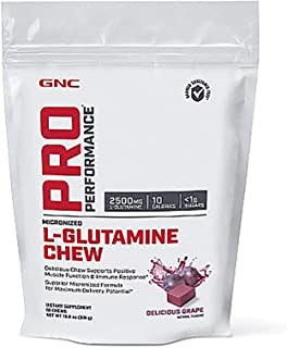 GNC Pro Performance L-Glutamine Chew, Delicious Grape, 60 Chews, Supports Positive Muscle Function and Immune Response