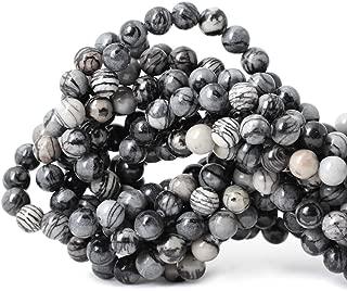 Qiwan 45PCS 8mm Black Network zebra Stripes Natural Stone Beads For Jewelry Making DIY Bracelet Necklace 1 Strand 15