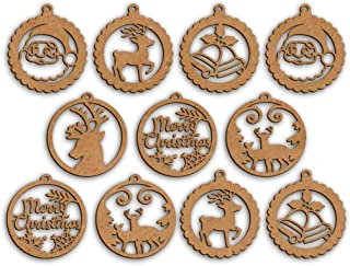 100yellow Wooden Christmas Tree Ornament Cutout for Christmas Decoration Hanger Pack of 10