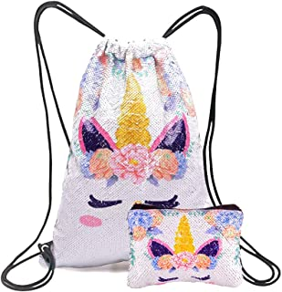 Xiaowli Unicorn Gifts Magic Reversible Sequin Drawstring Backpack with Unicorn Pouch Sets Mermaid School Dance Bags for Girls (C Light Pink)