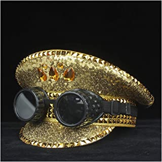 SHENTIANWEI Steampunk Men Women Gold Police Hat with Black Metal Classes Military Hat Captain Hat Performance Hat 3 Size