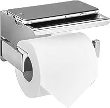 HITSLAM Toiletpapierhouder met legplank, zonder boren, zelfklevende wc-rolhouder, wc-papierhouder, rolhouder voor badkame...