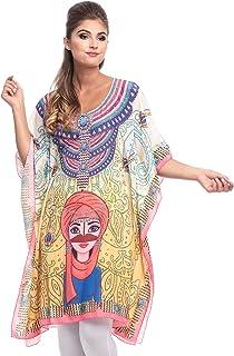 Arabian Clothing Multi Color Mixed Round Neck Kaftan & Kimono For Women