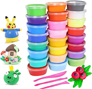 24 Colors Soft Super Light Modeling Polymer Clay Set, Air Dry Clay Kit, Wonderful DIY Educational Creative Gift for Kids