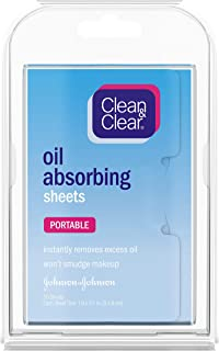 Clean & Clear Oil Absorbing Facial Sheets, Portable Blotting Papers for Face and Nose, Blotting Sheets for Oily Skin to Instantly Remove Excess Oil and Shine, Absorbing Blotting Papers, 50 ct