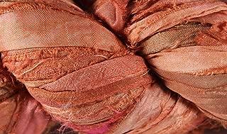 Recycled Sari Silk Ribbon- Fair Trade- Salmon- 100g Skein