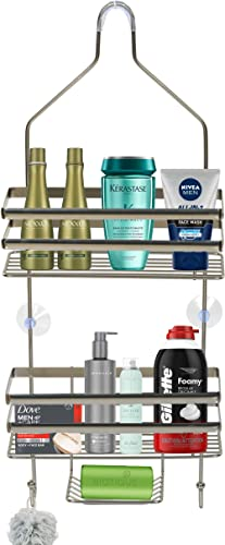 Voroly Metal Wire Hanging Bathroom Self Shower Caddy Extra Wide Space for Shampoo Conditioner and Soap with Hooks for Towel Organizer (3 Tire) product image