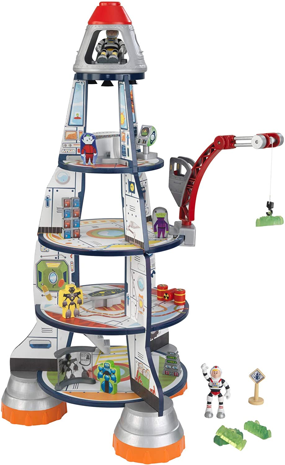 KidKraft Selling and selling Wooden 3-Section Rocket Ship Crane online shop with Set Moving Play