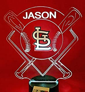 St. Louis Cardinals MLB Baseball Light Up Lamp LED Remote Personalized Table Lamp, Our Newest Feature - It's Wow, with Remote 16 Color Options, Dimmer, Free Engraved Great Gift