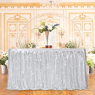 Juya Delight Sequin Table Skirt Rectangle Round Table Cover for Party Wedding Baby Shower Decoration(Silver,L 9(ft) H 30in )