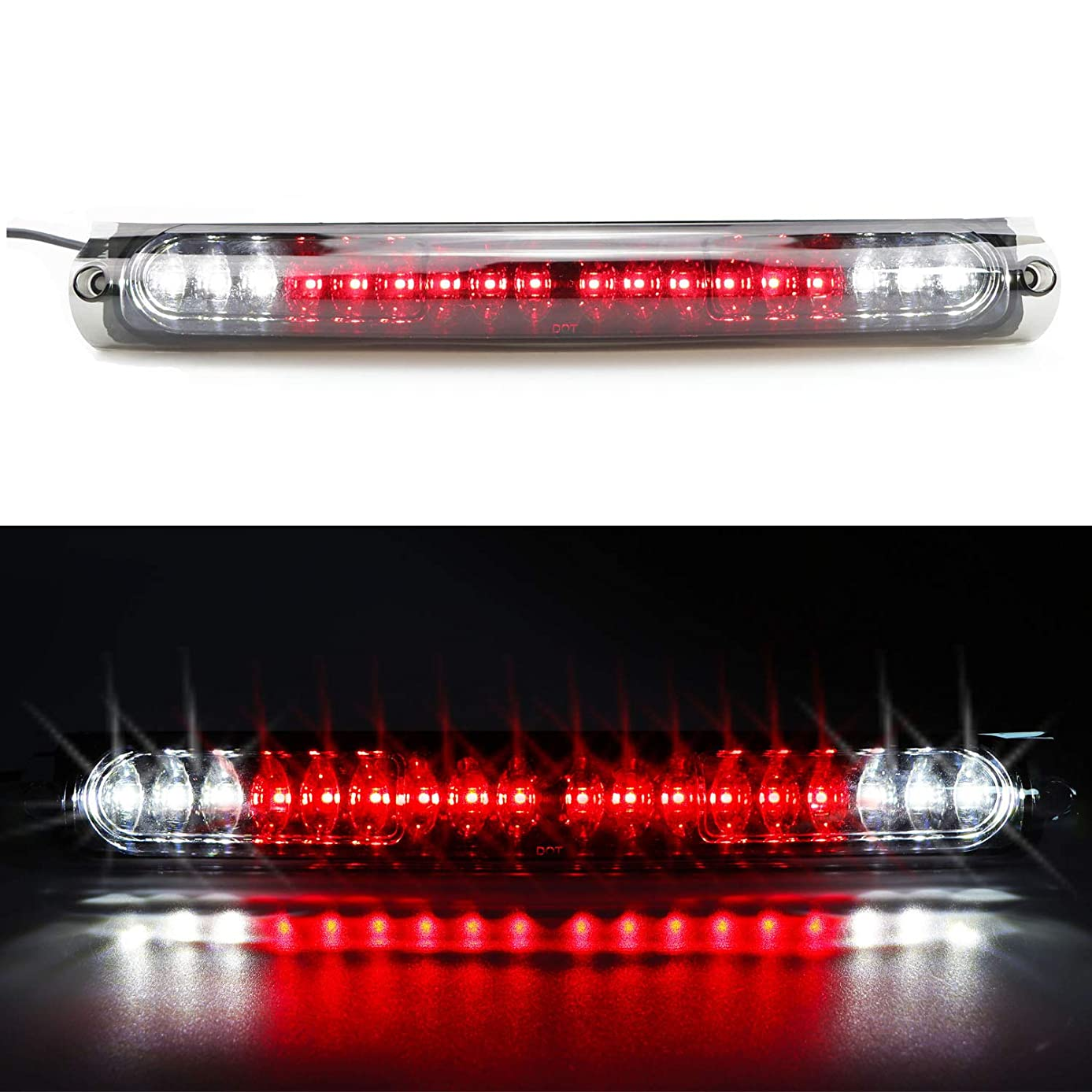 High Mount Stop Tail Light, Rear Roof Center LED Third 3rd Brake Cargo Light Assembly Replacement for 1997-2003 Ford F-150, 2004 Ford F-150 Heritage (Black Housing Clear Lens)