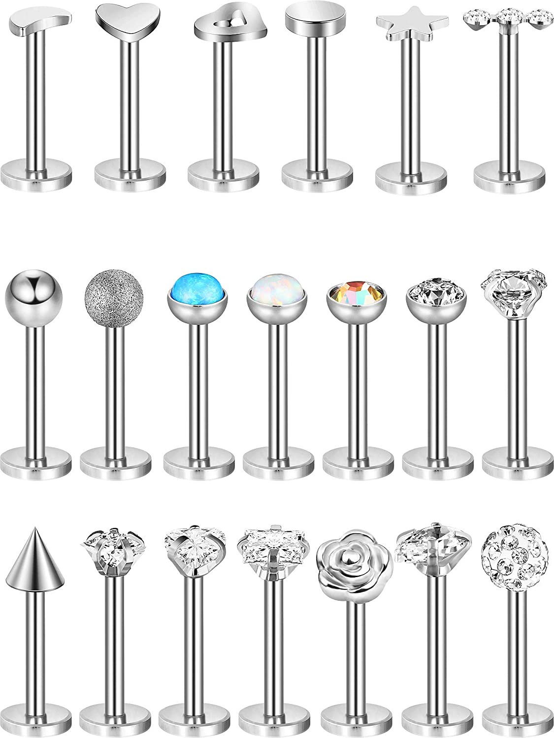 20 Pieces Nose Studs Tragus Bars Labret Bars Crystal Ball Body Piercing Jewelry, 20 Styles, 16 Gauge
