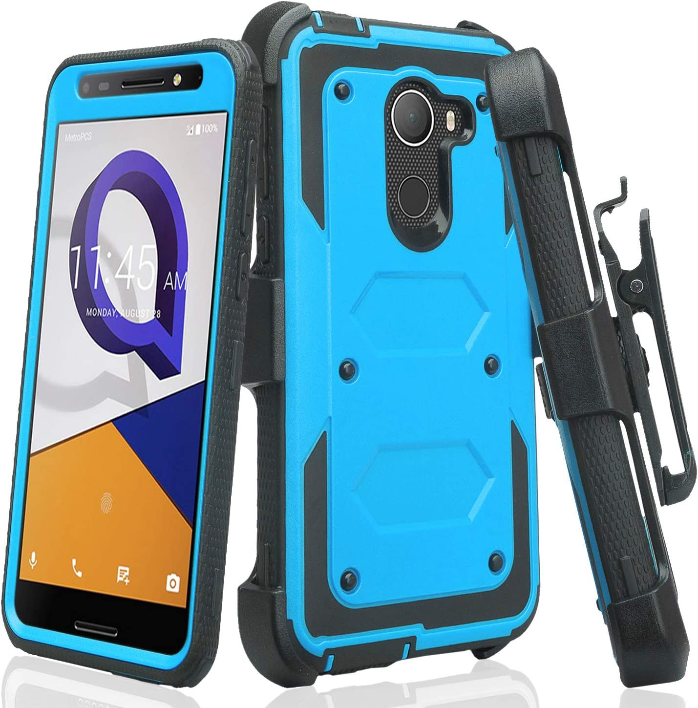 Jitterbug Smart 2 Case Belt Clip Holster[GW USA] Shock Proof Dual Layer Hard Case w/ [Built in Screen Protector] Full Body Protection Phone Case - Blue