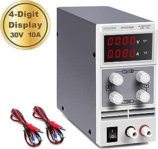 wanptek DC Power Supply Variable 30V 10A 4-Digit LED Display [Upgraded Version] Precision Adjustable DC Bench Power Supply DC Regulated Power Supply with 2 Alligator Clip Leads