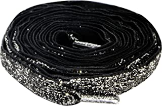 Flat Black Glitter Shoelaces for Sneakers Boot and Shoes 1 Side 125CM