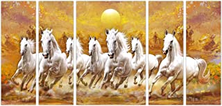 Art Amori White Seven Horse Vastu set of 5 MDF PaintingMulticolour 12x18 Inch - 1 Piece + 6x18 Inch-4 pieces for Wall Pain...