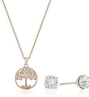 MESTIGE Women Crystal Rose Gold Back to Nature Set with Swarovski Crystals