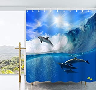 Ao blare Ocean View Shower Curtain Sunlight Playful Dolphins Swimming Leaping Out from Sea Surfing Wave Waterproof Polyester Fabric Shower Curtain Set with Hooks 72X72 Inche