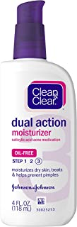 Clean & Clear Essentials Dual Action Facial Moisturizer with Salicylic Acid Acne Medication to Treat Acne and Prevent Pimp...