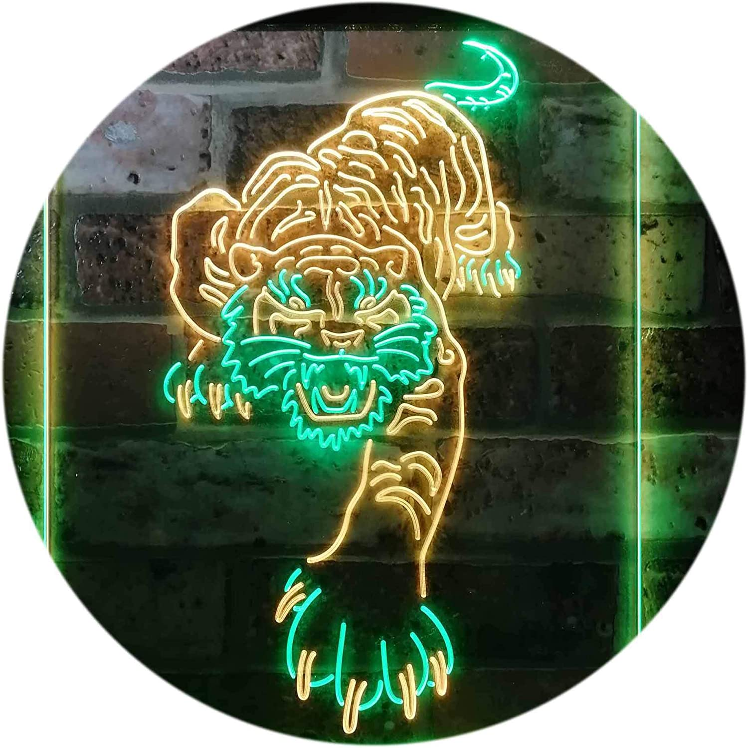 ADVPRO Tigers Man Cave safety Sport Dual Ranking TOP5 Ye Sign Color Green Neon LED